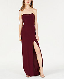 Blondie Nites Juniors' Crisscross Strapless Gown