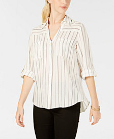 BCX Juniors' Printed Roll-Sleeved Button-Front Blouse