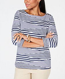 Charter Club Button-Shoulder Striped Top, Created for Macy's
