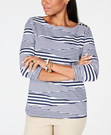 Charter Club Petite Boat-Neck Striped Top, Created for Macy's