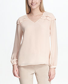 Calvin Klein Pleat-Detail Illusion-Sleeve Top