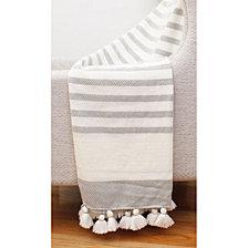 Griffin Jenessa Stripe Tassel Knit Decorative Throw