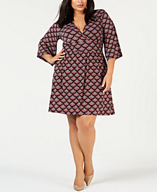 MICHAEL Michael Kors Plus Size Printed Surplice Dress
