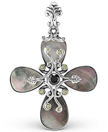 Grey Mother of Pearl and Milti Gemstone Pendant Enhancer in Sterling Silver
