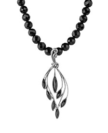 Carolyn Pollack Black Spinel Cascading Necklace in Sterling Silver