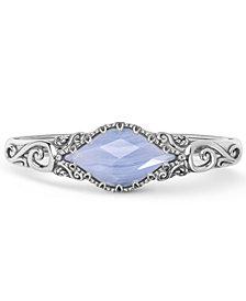 Carolyn Pollack Blue Lace Agate Cuff Bracelet in Sterling Silver