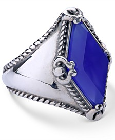 Blue Agate (10x20mm) Kite Ring in Sterling Silver