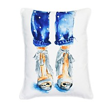 "Thro Polyester Filled Naomi Shoes Printed Faux Linen Pillow, 14"" x 18"""
