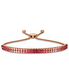 Strawberry Layer Cake Pink Sapphire (2-1/4 ct. t.w.) & Ruby (3/4 ct. t.w.) Double Strand Bolo Bracelet (3 ct. t.w.) in 14k Rose Gold