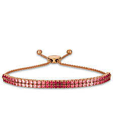 Le Vian® Strawberry Layer Cake Pink Sapphire (2-1/4 ct. t.w.) & Ruby (3/4 ct. t.w.) Double Strand Bolo Bracelet (3 ct. t.w.) in 14k Rose Gold
