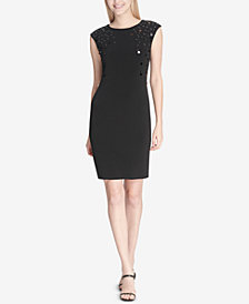 Calvin Klein Paillette-Trim Sheath Dress