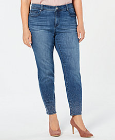 I.N.C. Plus Size Caviar Studded Skinny Jeans, Created for Macy's