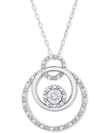 "Diamond Triple Circle 18"" Pendant Necklace (1/10 ct. t.w.) in Sterling Silver"