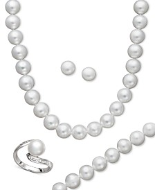 Pearl Jewelry Set, Sterling Silver Cultured Freshwater Pearl and Diamond Accent Jewelry Set