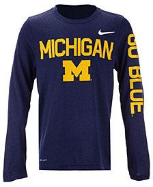 Nike Michigan Wolverines Legend Long Sleeve T-Shirt, Big Boys (8-20)