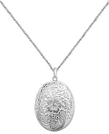 Sterling Silver Necklace, Four Photo Engraved Locket
