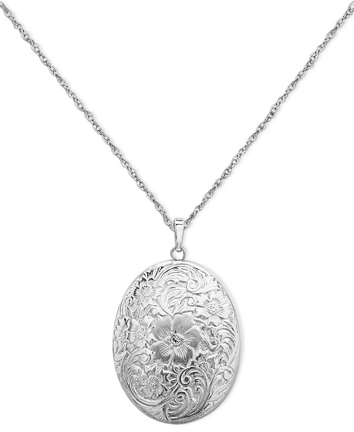 Macy's - Sterling Silver Necklace, Four Photo Engraved Locket