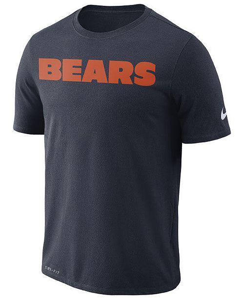 Nike Men's Chicago Bears Dri-FIT Cotton Essential Wordmark T-Shirt