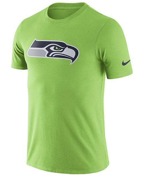 Nike Men's Seattle Seahawks Dri-Fit Cotton Essential Logo T-Shirt