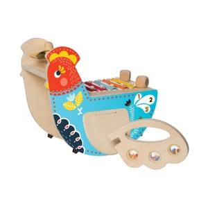 Manhattan Toy Musical Chicken Wooden Instrument With Xylophone, Drumsticks, Cymbal, And Maraca