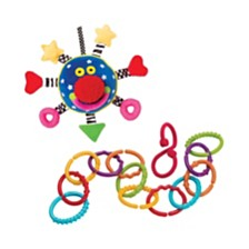 Manhattan Toy Baby Whoozit And Links Baby Travel Toy Accessory Set