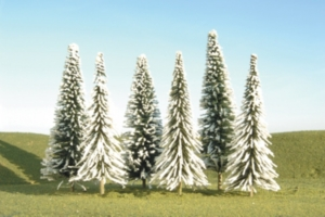 Bachmann Trains 5 To 6 Inch Pine Trees With Snow 6 Per Box Ho Scale