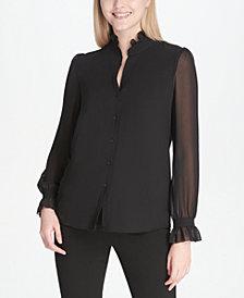 Calvin Klein Ruffle-Collar Chiffon-Sleeve Blouse