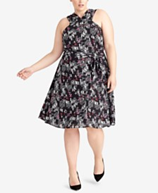 RACHEL Rachel Roy Plus Size Letter-Print Dress, Created for Macy's