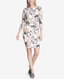 Calvin Klein Floral-Print Ruched-Shoulder Dress