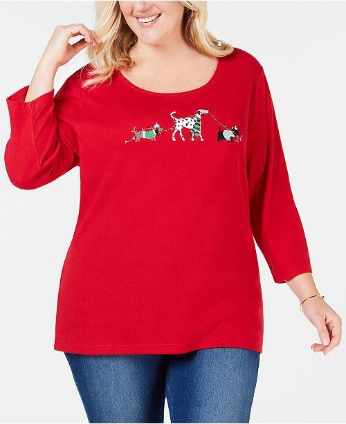 9cad6d29369dbc ... Karen Scott Plus Size Holiday Dog Walk Top