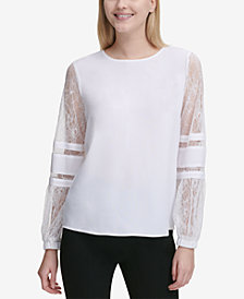 Calvin Klein Lace-Sleeve Top