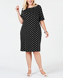 Karen Scott Plus Size Polka-Dot Shift Dress, Created for Macy's