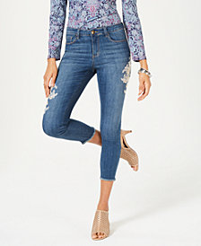 Style & Co Lace-Appliqué Skinny Ankle Jeans, Created for Macy's
