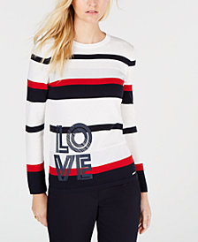 Tommy Hilfiger Cotton Striped Love Sweater, Created for Macy's