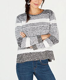 Style & Co Eyelash-Texture Striped Sweater, Created for Macy's