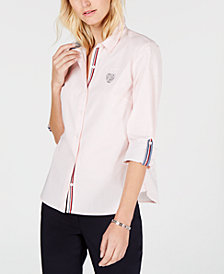 Tommy Hilfiger Heart Patch Roll-Tab Shirt, Created for Macy's