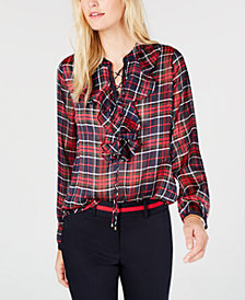 Tommy Hilfiger Plaid Ruffle-Neck Blouse, Created for Macy's