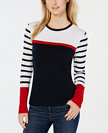 Tommy Hilfiger Cotton Striped Colorblocked Top, Created for Macy's