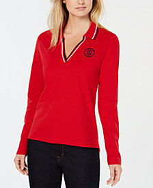 Tommy Hilfiger Long-Sleeve Polo Top, Created for Macy's