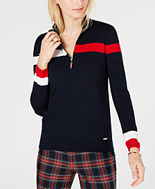Tommy Hilfiger Cotton Colorblocked Striped Top, Created for Macy's