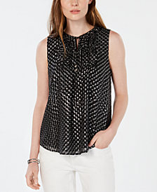 Tommy Hilfiger Printed Tie-Neck Shell, Created for Macy's