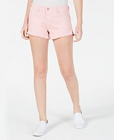 Juniors' Raw-Edged Colored Denim Shorts