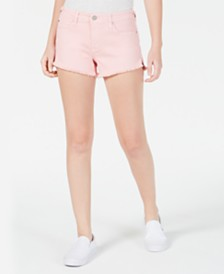Celebrity Pink Juniors' Raw-Edged Colored Denim Shorts