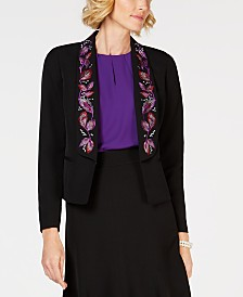 Kasper Embroidered Stretch Crepe Jacket
