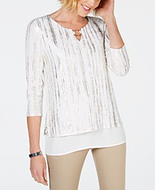 Metallic O-Ring Keyhole Top, Created for Macy's