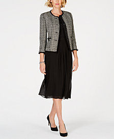 Anne Klein Tweed Jacket, Henley Shell & Midi Skirt