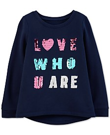 Carter's Little & Big Girls Reversible Sequin Fleece Sweatshirt