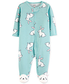 Carter's Baby Girls 1-Pc. Bunny Cotton Footed Pajamas