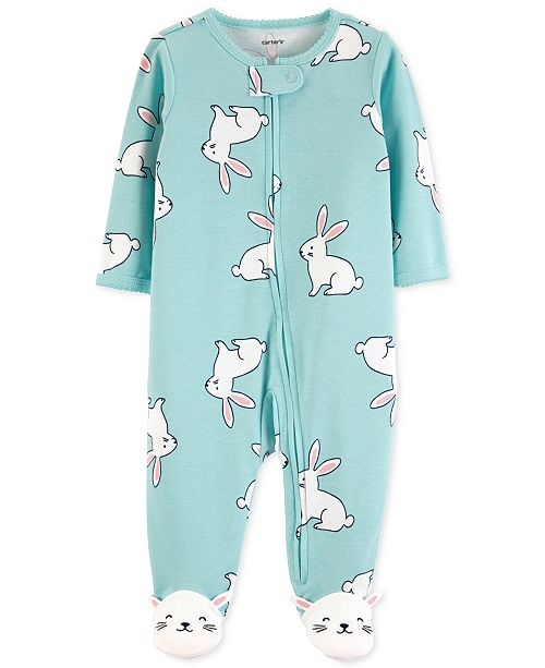 f7bce30bf Carter's Baby Girls 1-Pc. Bunny Cotton Footed Pajamas & Reviews ...