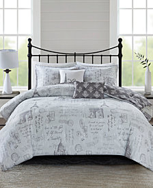 510 Design Marseille King/cal King 5 Piece Reversible Paris Printed Comforter Set